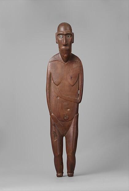 Female Figure (Moai Papa), Wood, glass, paint, Rapa Nui people
