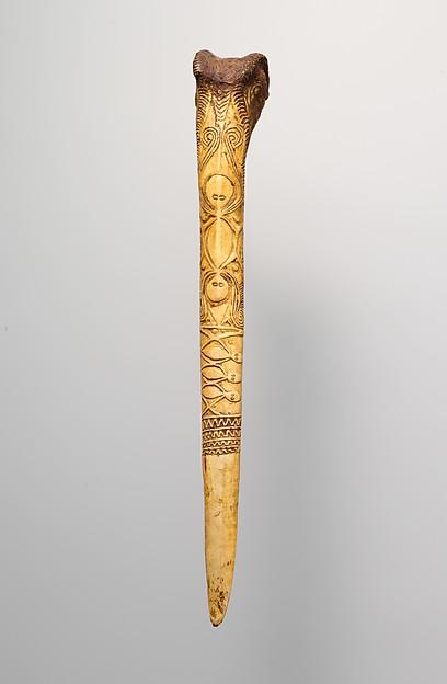 Dagger, Cassowary bone, pigment, Kwanga people