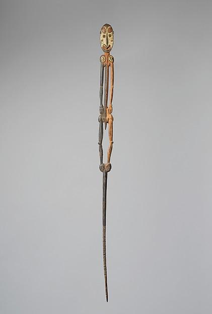 Lime spatula (Tap), Wood, paint, Iatmul people