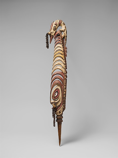 Hair Ornament (Manyan), Wood, paint, shell, fiber, Biwat people