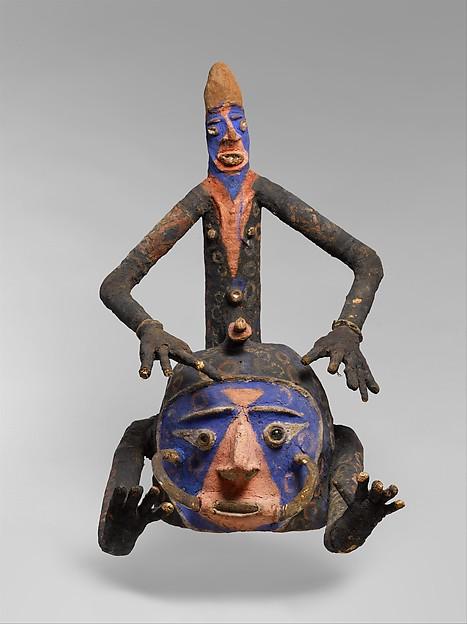 Helmet Mask  (Temes Mbalmbal), Wood, vegetable fiber, pig tusks, glass, metal, paint, Southwest Malakula