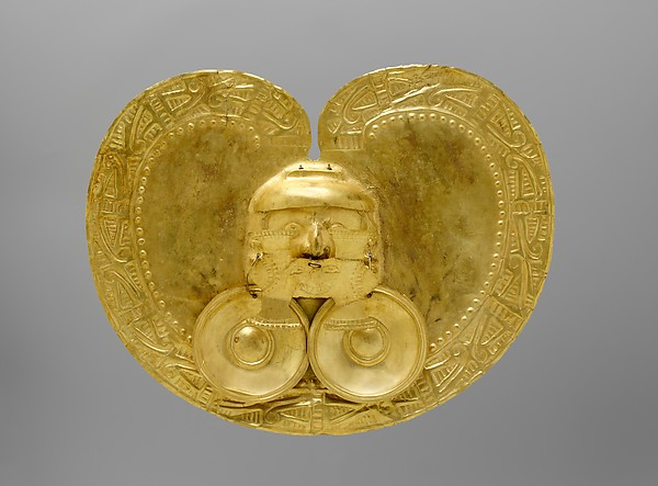 Pectoral with Face, Gold (hammered), Calima (Yotoco)