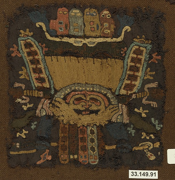 Embroidered Mantle Fragment, Camelid hair, cotton, Paracas