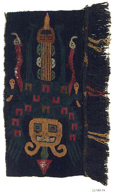 Embroidered Border Fragment, Camelid hair, cotton, Paracas