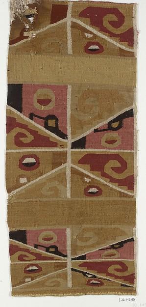 Tunic Fragment, Cotton, camelid hair, Wari