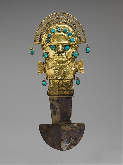 Ceremonial Knife (Tumi), Gold, silver, turquoise, Lambayeque (Sicán)