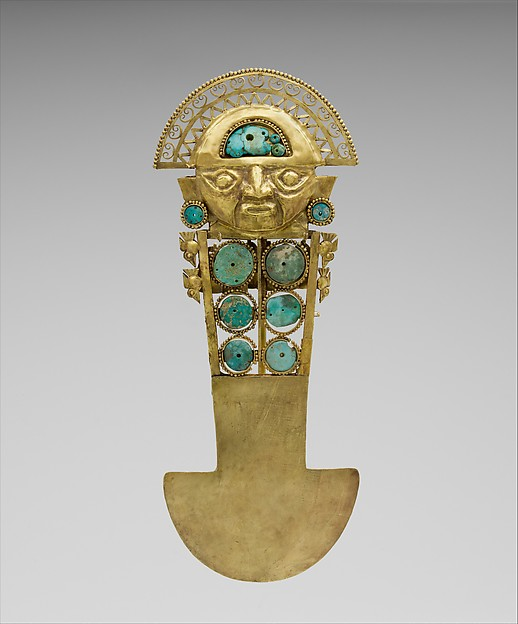 Ceremonial Knife (Tumi), Gold, turquoise, Lambayeque (Sicán)