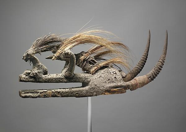 Kòmò Helmet Mask (Kòmòkun), Wood, bird skull, porcupine quills, horns, cotton, sacrificial materials, Komo or Koma Power Association