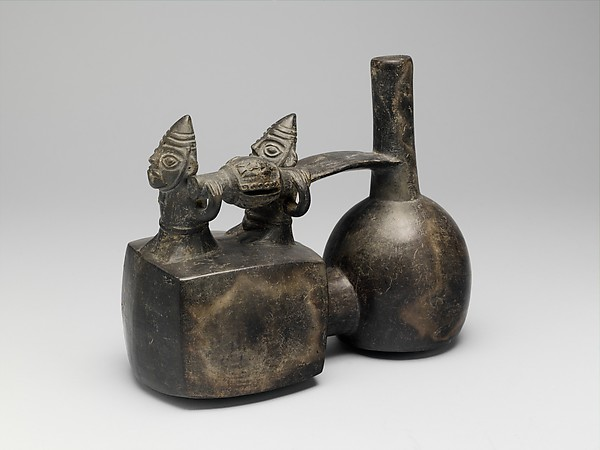 Stirrup Spout Bottle: Litter Scene, Ceramic, Chimú