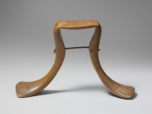 Headrest, Wood, copper, pigment, Karimoja peoples