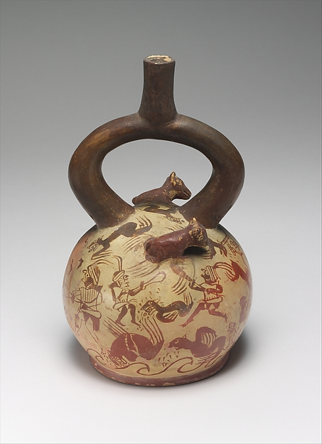 Sea Lion Hunt Bottle, Ceramic, Moche