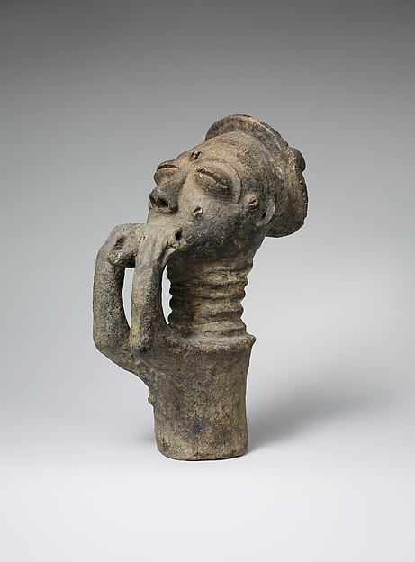 Memorial Figure of a Hornblower (Mma), Terracotta, Akan peoples, Anyi group