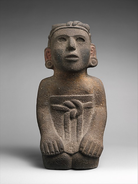 Kneeling Female Figure, Stone, pigment, Aztec