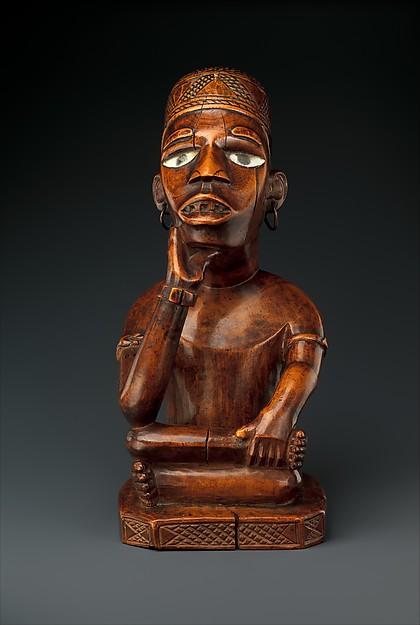 Seated Male Figure, Wood, glass, metal, kaolin, Kongo peoples, Kakongo group