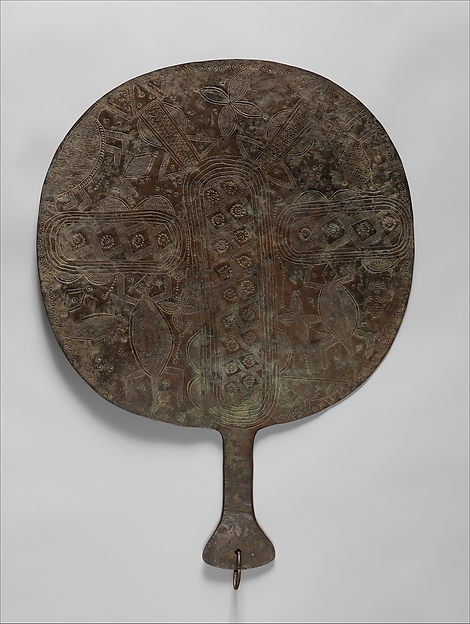 Osun Priestess Fan, Brass, Yoruba peoples