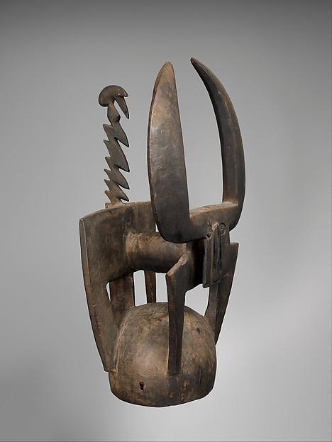 Buffalo Helmet Mask (Kablé), Wood, cane, fiber ropes, Northern Tussian or Siemu