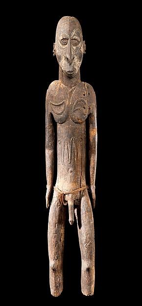Ancestor Figure, Wood, paint, fiber, Sawos people