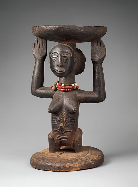 Prestige Stool: Female Caryatid, Wood, beads, Luba or Hemba peoples