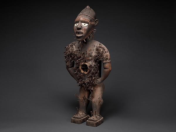 Power Figure (Nkisi N'Kondi: Mangaaka), Wood, iron, resin, ceramic, plant fiber, textile, pigment, Kongo peoples; Yombe group
