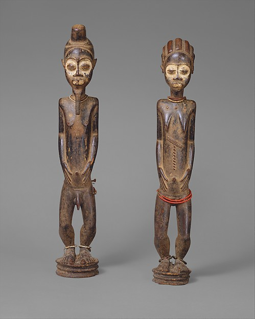 Pair of Diviner's Figures, Wood, pigment, beads, iron, Baule peoples