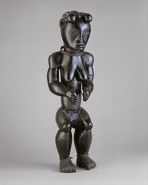 Figure from a Reliquary Ensemble: Seated Female, Wood, metal, Fang peoples, Okak group