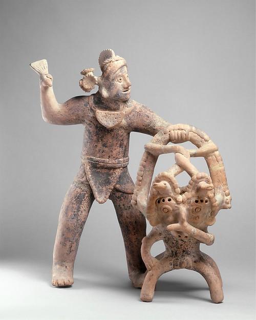 Figure with Incense Burner, Ceramic, Colima
