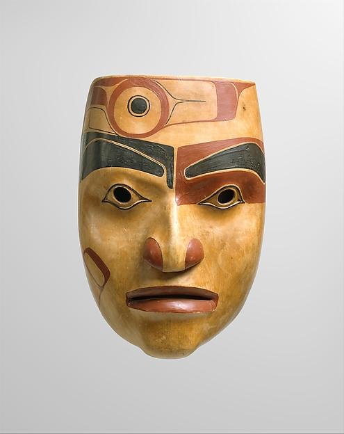 Portrait mask, Robert Davidson, Wood, pigment, Haida