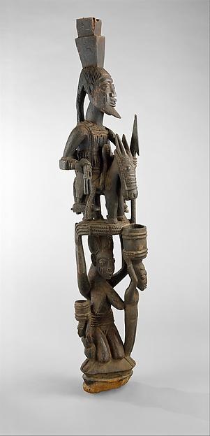 Veranda Post: Equestrian Figure and Female Caryatid, Olowe of Ise (Nigerian, born Ise, about 1873–1938), Wood, pigment, Yoruba peoples, Ekiti group