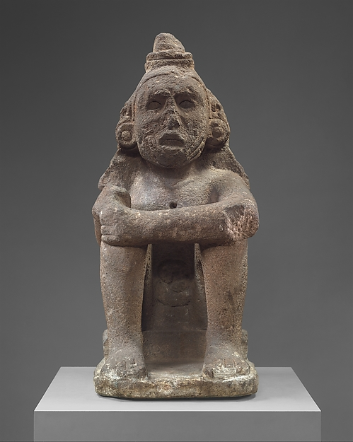 Seated Deity (Macuilcoatl), Basalt, Aztec