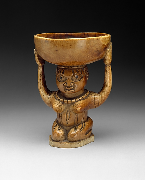 Ifa Divination Vessel: Female Caryatid (Agere Ifa), Ivory, wood or coconut shell inlay, Yoruba peoples, Owo group