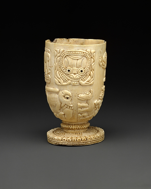 Vessel, Ivory, wood or coconut shell inlay, Yoruba peoples, Owo group