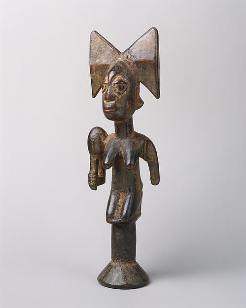 Sango Staff: Kneeling Female Figure  (Ose Sango), Onakunle Aribikona, Wood, Yoruba peoples
