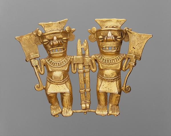 Double Bat-Head Figure Pendant, Gold, Chiriqui