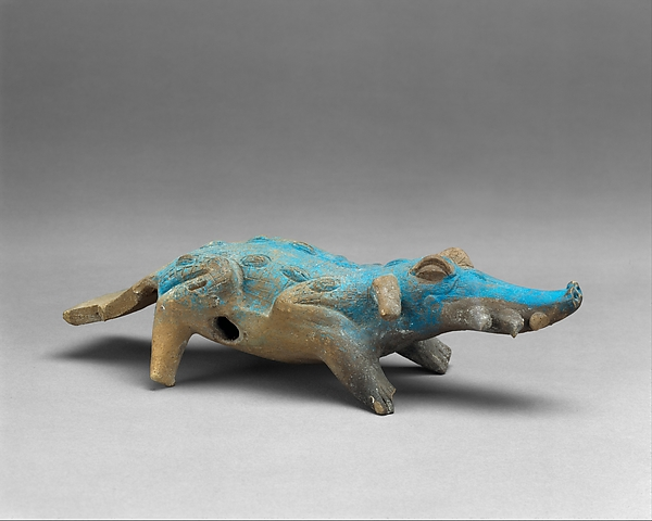 Crocodile Rattle, Ceramic, Maya