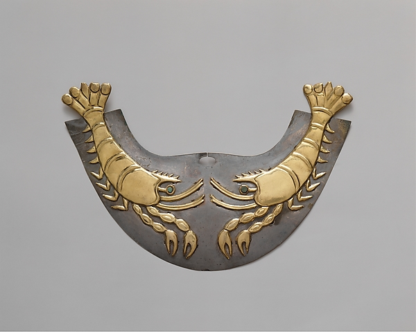 Nose Ornament with Shrimp, Gold, silver, stone, Moche (Loma Negra)