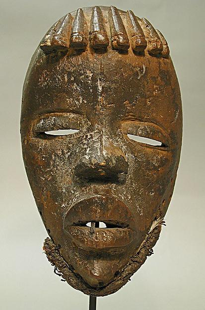 Face Mask, Wood, iron, cord, fur, Dan peoples