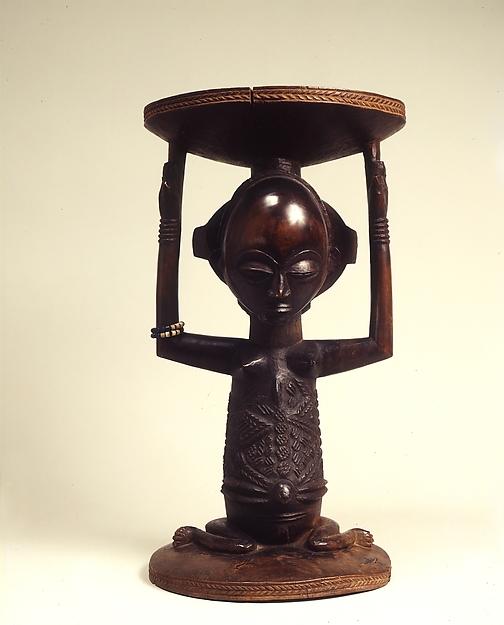 Prestige Stool (Kipona), Wood, glass beads, Luba peoples, identified as the Master of the Warua or the Kunda