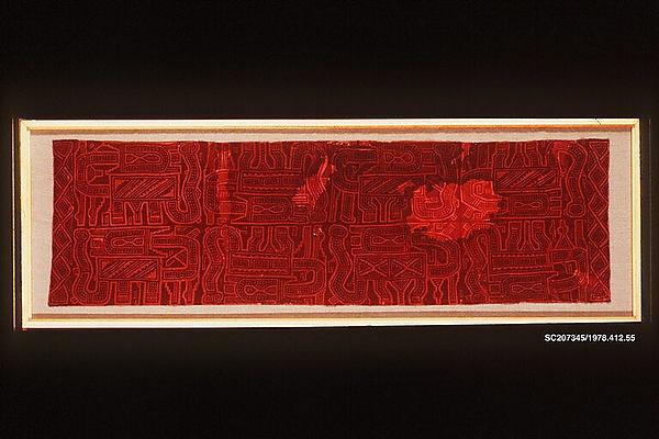 Mantle Fragment, Cotton, pigment, Paracas