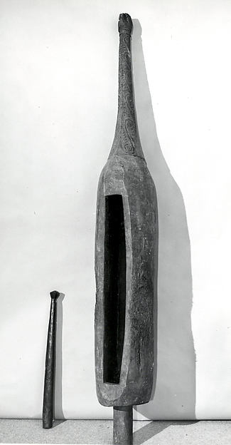 Slit Gong and Beater, Wood, Iwam people