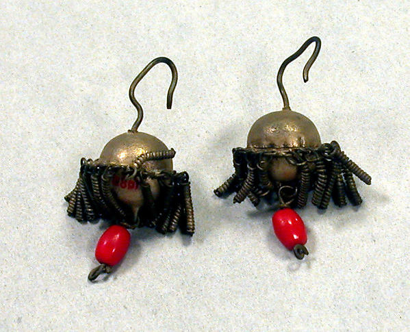 Pair of Earrings, Silver, glass beads, Fon peoples