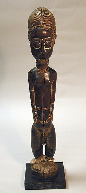 Male Figure, Wood, ivory beads, pigment, Baule peoples