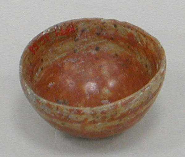 Miniature Painted Bowl, Ceramic, slip, pigment, Aztec