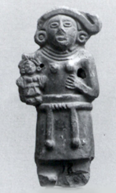 Female Figure with Child, Ceramic, Aztec