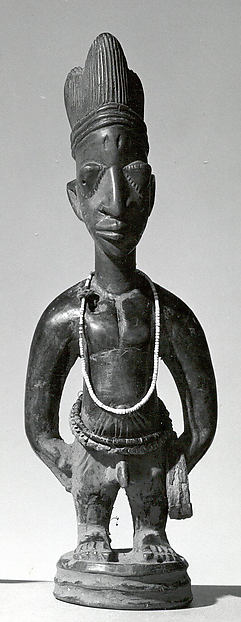 Twin Figure: Male (Ibeji), Workshop of Ibuke Compound, Wood, camwood powder, indigo, beads, iron, vertebrae, Yoruba peoples, Oyo group