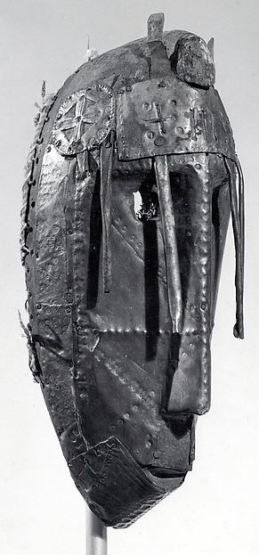 Mask (Dyoboli Koun), Wood, brass, cotton cloth, pigment, string, Bamana or Marka peoples (?)