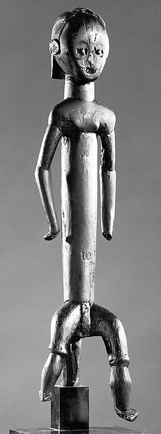 Figure from a Reliquary Element: Seated Male (Nlo Bieri), Wood, metal, Fang peoples