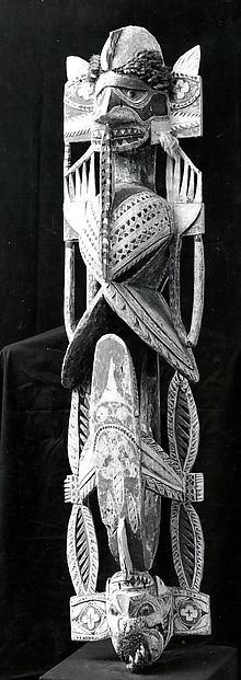Funerary Carving (Malagan), Wood, paint, shell, fiber, Northern New Ireland