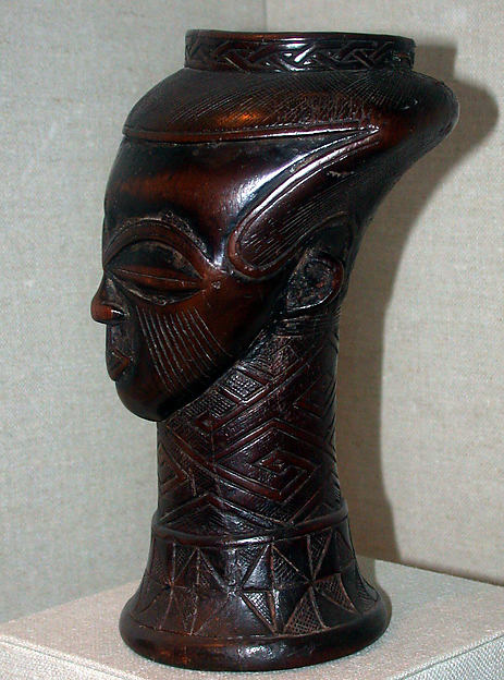 Vessel: Head, Wood, fiber, pigment, Kuba peoples