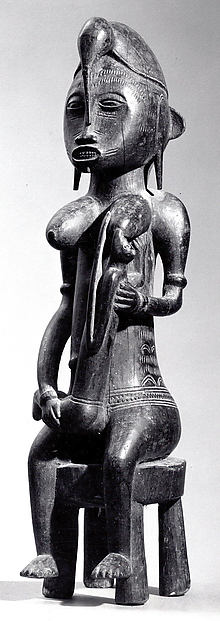 Mother and Child Figure, Wood, Senufo peoples
