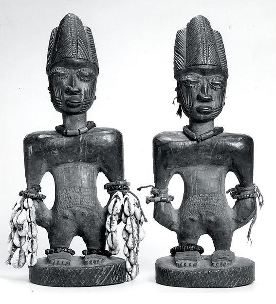 Ibeji Twin Figure, Wood, camwood powder, brass, glass beads, cowries, blueing, string, Yoruba peoples, Oyo group